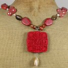 RED CINNABAR CORAL CHERRY QUARTZ AGATE TIGER EYE PEARLS NECKLACE