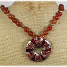 COPPER PENDANT & RED AGATE NECKLACE