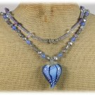 MURANO GLASS BLUE AGATE AMETHYST CRYSTAL PEARLS 2ROW NECKLACE