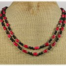 RED CORAL BLACK AGATE 2ROW NECKLACE