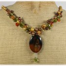 RED BROWN AGATE CRYSTAL FRESH WATER PEARLS NECKLACE