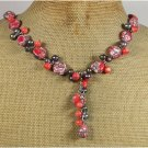 RED AFRICAN TURQUOISE PINK CORAL FRESH WATER PEARLS NECKLACE
