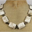 WHITE TURQUOISE SMOKY QUARTZ CRYSTAL NECKLACE