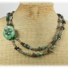 GREEN JADE FLOWER RUTILATED JASPER SMOKY QUARTZ PEARLS 2ROW NECKLACE