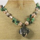 FLOWER JASPER GREEN JADE AVENTURINE FRESH WATER PEARLS NECKLACE