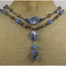 BLUE AGATE JADE SODALITE CRYSTAL PEARLS 2ROW NECKLACE
