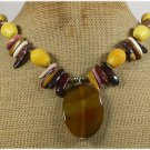 YELLOW AGATE CORAL MOOKITE TIGER EYE NECKLACE