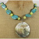 ABALONE ROSE MOSAIC TURQUOISE LEMON JADE NECKLACE