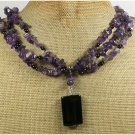 BLACK AGATE & AMETHYST 3ROW NECKLACE