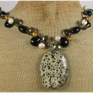 DALMATIAN JASPER BLACK AGATE CRYSTAL PEARLS NECKLACE