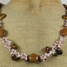 TIGER EYE BROWN AGATE FRESH WATER PEARLS NECKLACE