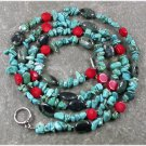 "LONG! 40"" TURQUOISE KAMBABA JASPER RED CORAL NECKLACE"