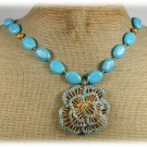 FLOWER PENDANT & BLUE TURQUOISE NECKLACE