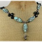 BLUE AFRICAN TURQUOISE BLACK CRYSTAL FRESH WATER PEARLS NECKLACE