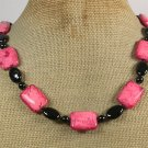 RED TURQUOISE BLACK AGATE NECKLACE