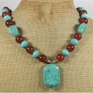 TURQUOISE RED AGATE NECKLACE