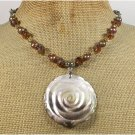 ABALONE ROSE CRYSTAL FRESH WATER PEARLS LEATHER CORD NECKLACE