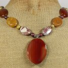 RED AGATE CRAZY AGATE YELLOW JADE FRESH WATER PEARLS NECKLACE