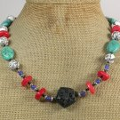 BLACK CINNABAR TURQUOISE CORAL JADE NECKLACE