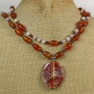 RED FIRE AGATE WHITE JADE 2ROW NECKLACE