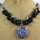 SODALITE BLACK AGATE FRESH WATER PEARLS NECKLACE
