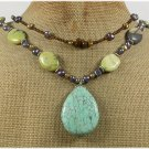 TURQUOISE & FRESH WATER PEARLS 2ROW NECKLACE