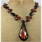 FLOWER LAMPWORK BLACK AGATE CRYSTAL PEARLS NECKLACE