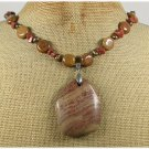 CHUNKY MUGER JASPER GOLDSTONE BROWN AGATE NECKLACE