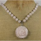 NATURAL ROSE QUARTZ FLOWER NECKLACE