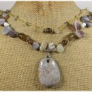CRAZY LACE AGATE WHITE QUARTZ PEARLS 2ROW NECKLACE