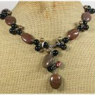 IMPERIAL JASPER BLACK AGATE FRESH WATER PEARLS NECKLACE