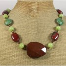 MAHOGANY OBSIDIAN RED AGATE GREEN JADE MOSAIC TURQUOISE NECKLACE