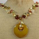 YELLOW AGATE CITRINE CRYSTAL PEARLS NECKLACE
