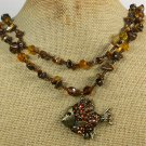FISH PENDANT TIGER EYE CRYSTAL 2ROW NECKLACE