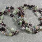 GARNET FANCY JASPER RUTILATED QUARTZ 3ROW NECKLACE