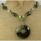 OLIVE FIRE AGATE LABORADITE JADE NECKLACE