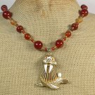 SEAL PENDANT & RED ORANGE AGATE NECKLACE