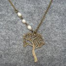 TREE PENDANT & FRESH WATER WHITE PEARLS NECKLACE