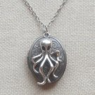 OCTOPUS CHARM FLORAL LOCKET NECKLACE