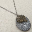 FLORAL LOCKET & OWL CHARM NECKLACE