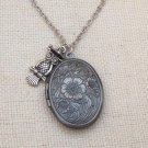 OVAL FLORAL LOCKET & SILVER OWL CHARM NECKLACE