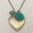 HEART LOCKET GREEN JADE RESIN FLOWER NECKLACE