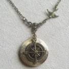ROUND LOCKET PENDANT & SWALLOW & COMPASS NECKLACE