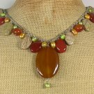 AGATE MUGER JASPER FRESH WATER PEARLS NECKLACE