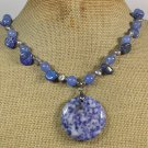 SODALITE BLUE JADE FRESH WATER PEARLS NECKLACE