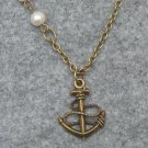 ANCHOR PENDANT & FRESH WATER PEARLS NECKLACE