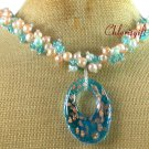 HANDMADE MURANO GLASS   BLUE CRYSTAL   FW PEARL NECKLACE