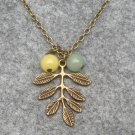 LEAF PENDANT & GREEN LEMON JADE NECKLACE