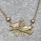 HANDMADE BIRDS & FRESH WATER PEARLS NECKLACE