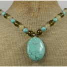 Handmade TURQUOISE YELLOW JADE CRYSTAL NECKLACE